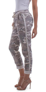 Cropped Camo Pant with Silver Studs in Sand