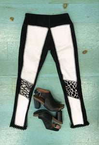 White with Black Patches Skinny Leg Jean