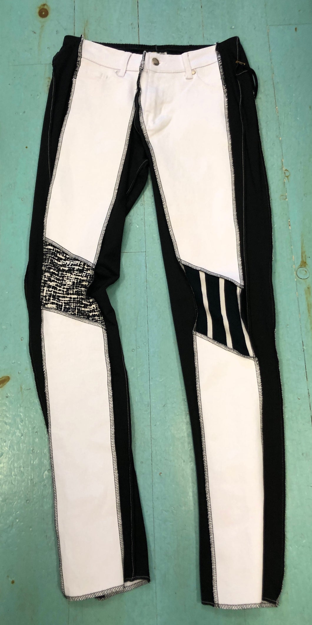 White with Black Patches Slim Leg Jean
