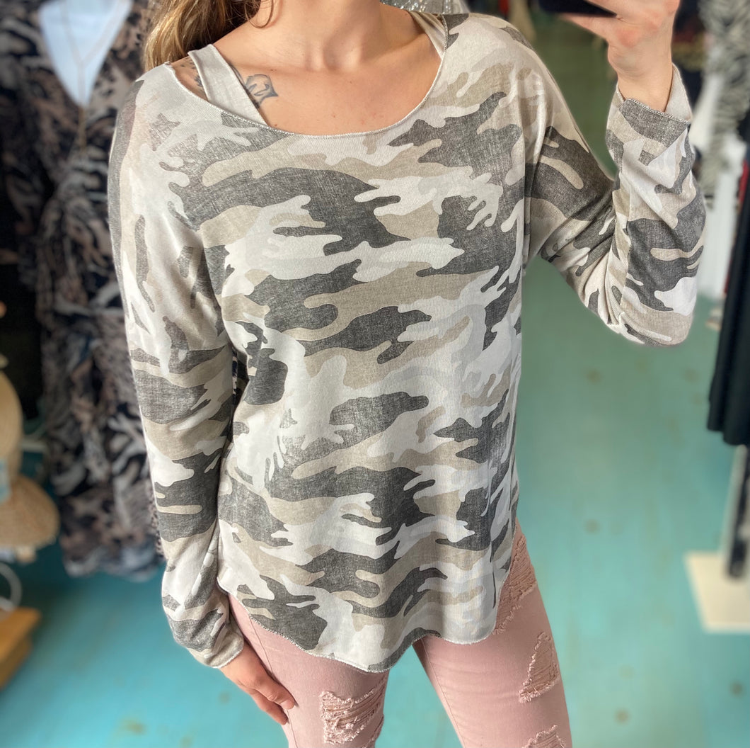 Two Piece Camo Sweater