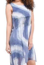 Sleeveless Dip-Dye Dress in Denim Blue