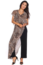 Jumpsuit with Leopard Printed Chiffon Overlay
