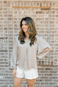 Elisa V-Neck Long Sleeve Gathered Wrist Top in Taupe