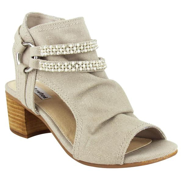 Alma Peep-Toe Bootie in Cream