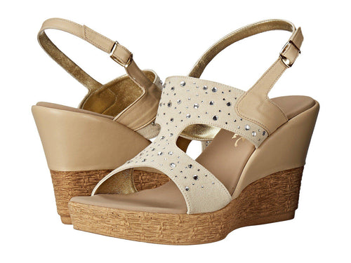 Napa Ankle Strap Wedge Sandal in Beige/Natural
