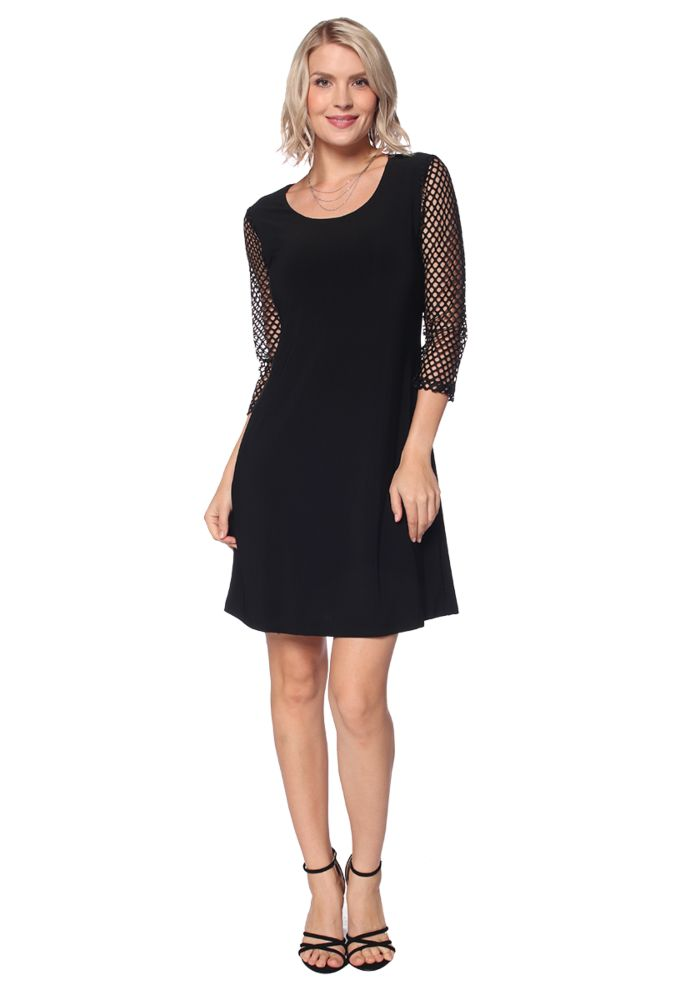 Perforated 3/4 Sleeve Dress in Black