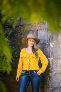 polka dot blouse, western, country, camp draft