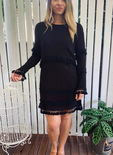 black tassel dress cowgirl boho