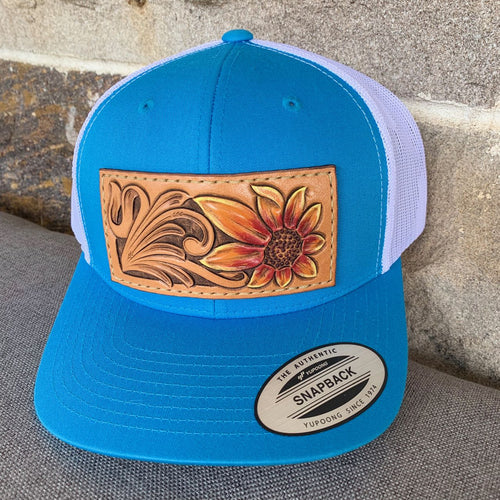 Hand Tooled Sunflower Trucker Hat