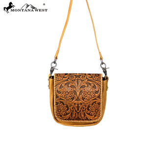 Montana West 100% Genuine Tooled Leather Crossbody Bag