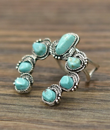 Squash Blossom Natural Turquoise Ring