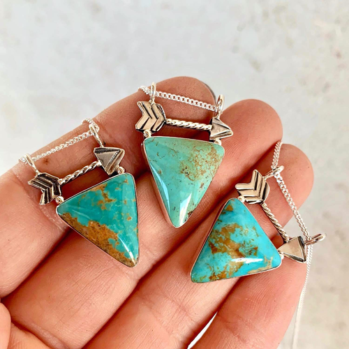 Turquoise Triangle & Arrow Necklace
