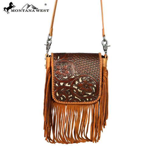 Montana West 100% Genuine Leather Tooled Crossbody