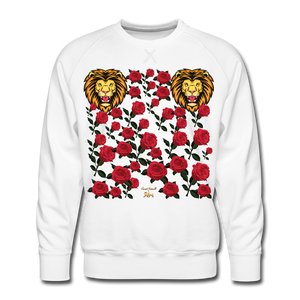 Lion with Roses Premium Sweatshirt - white