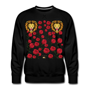 Lion with Roses Premium Sweatshirt - black