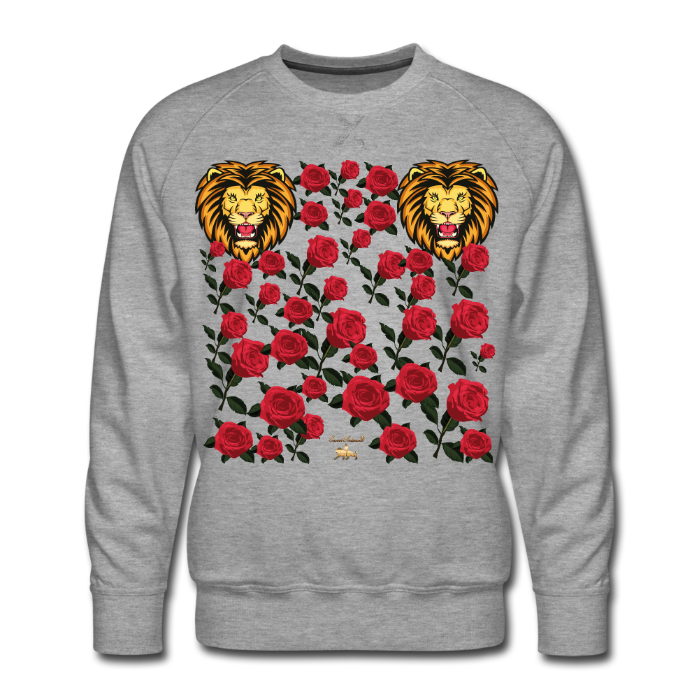 Lion with Roses Premium Sweatshirt - heather gray