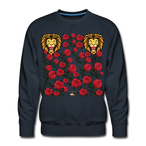Lion with Roses Premium Sweatshirt - navy