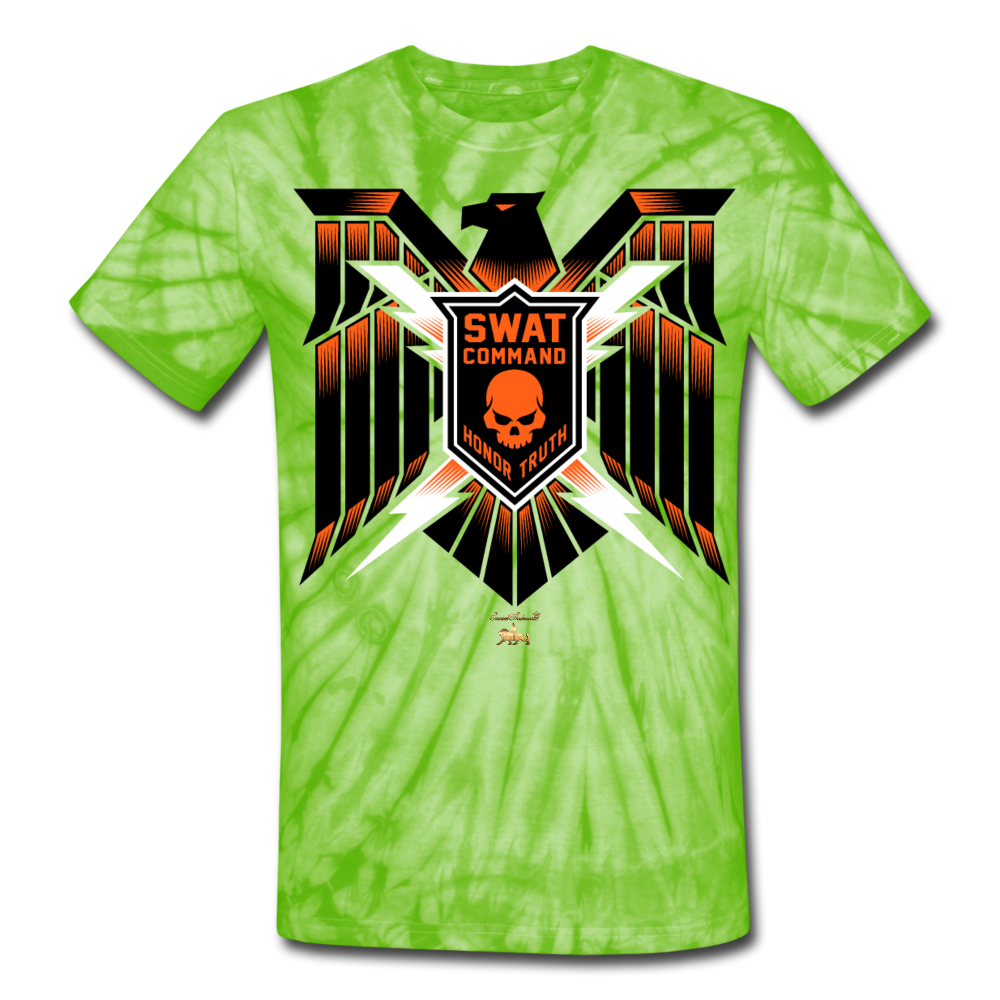 S.W.A.T- Command Team Unisex Tie Dye T-Shirt - spider lime green