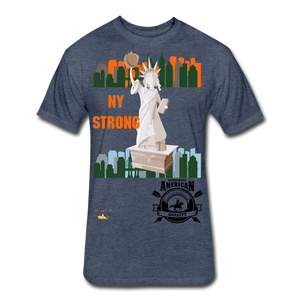 N.Y Strong Fitted Cotton/Poly T-Shirt - heather navy