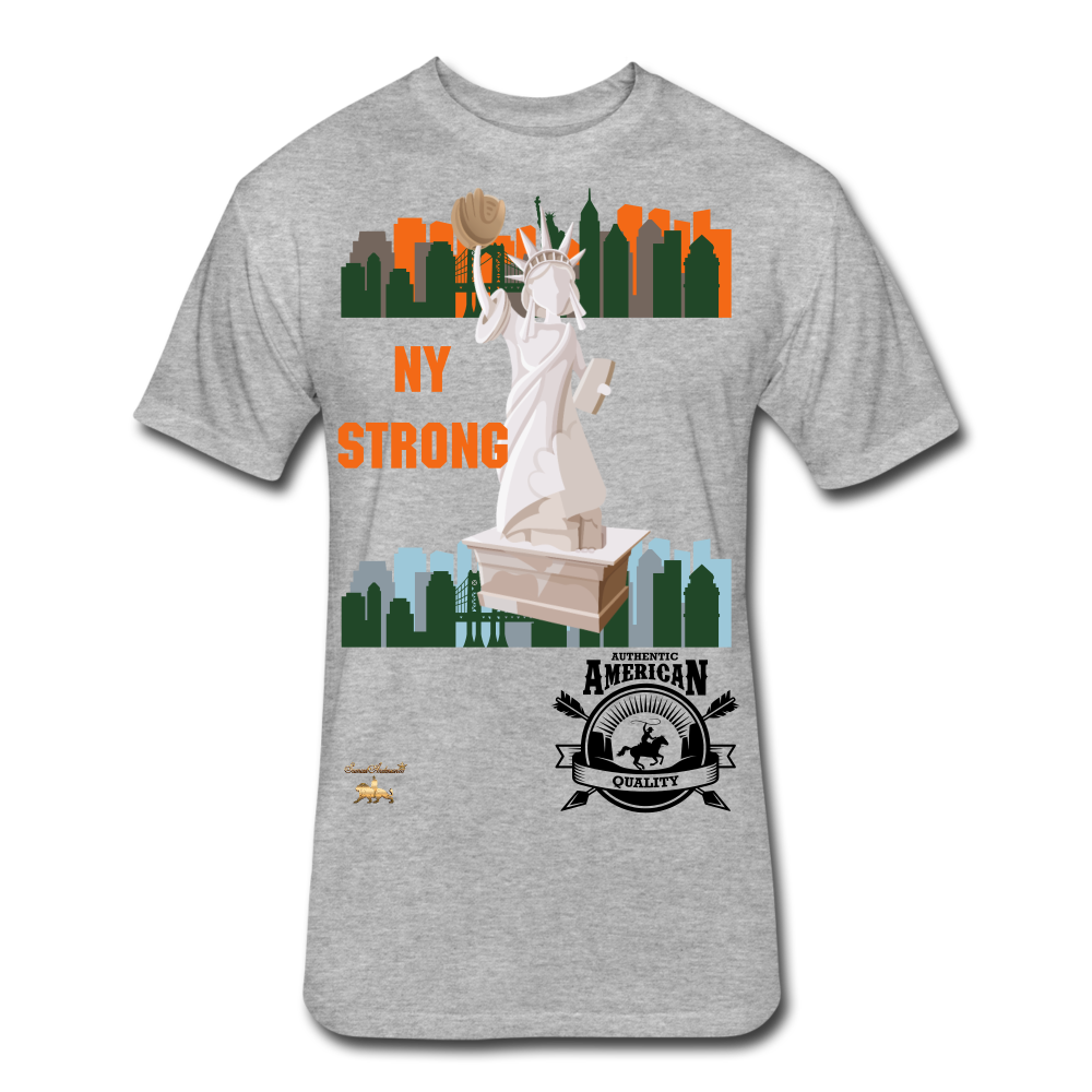 N.Y Strong Fitted Cotton/Poly T-Shirt - heather gray