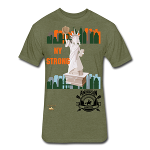 N.Y Strong Fitted Cotton/Poly T-Shirt - heather military green