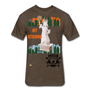 N.Y Strong Fitted Cotton/Poly T-Shirt - heather espresso