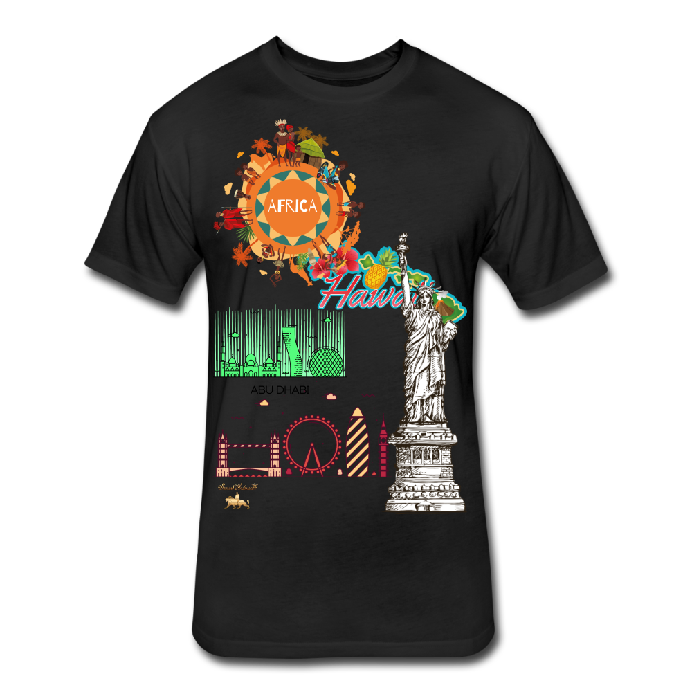 Classic Collections of Countries, Cities and Continent Fitted Cotton/Poly T-Shirt - black