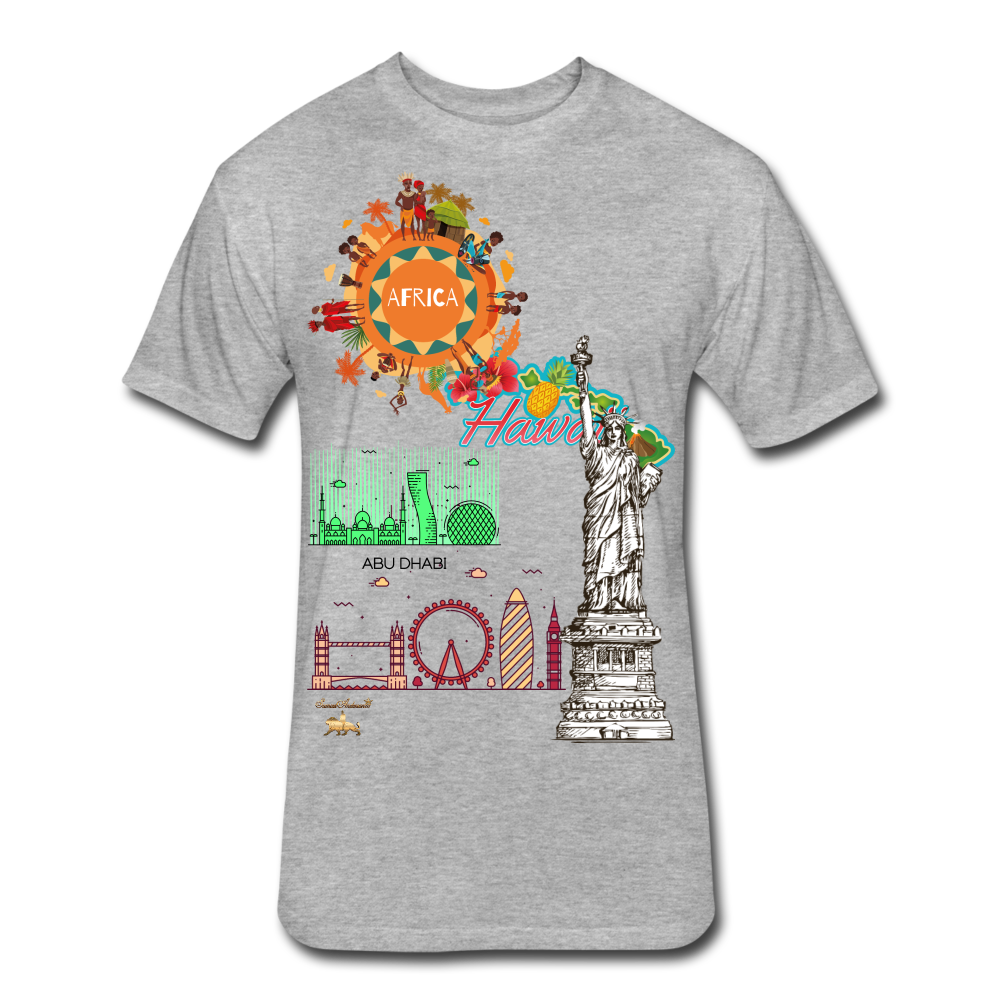 Classic Collections of Countries, Cities and Continent Fitted Cotton/Poly T-Shirt - heather gray