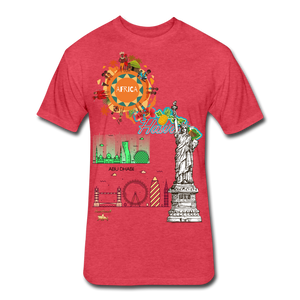 Classic Collections of Countries, Cities and Continent Fitted Cotton/Poly T-Shirt - heather red