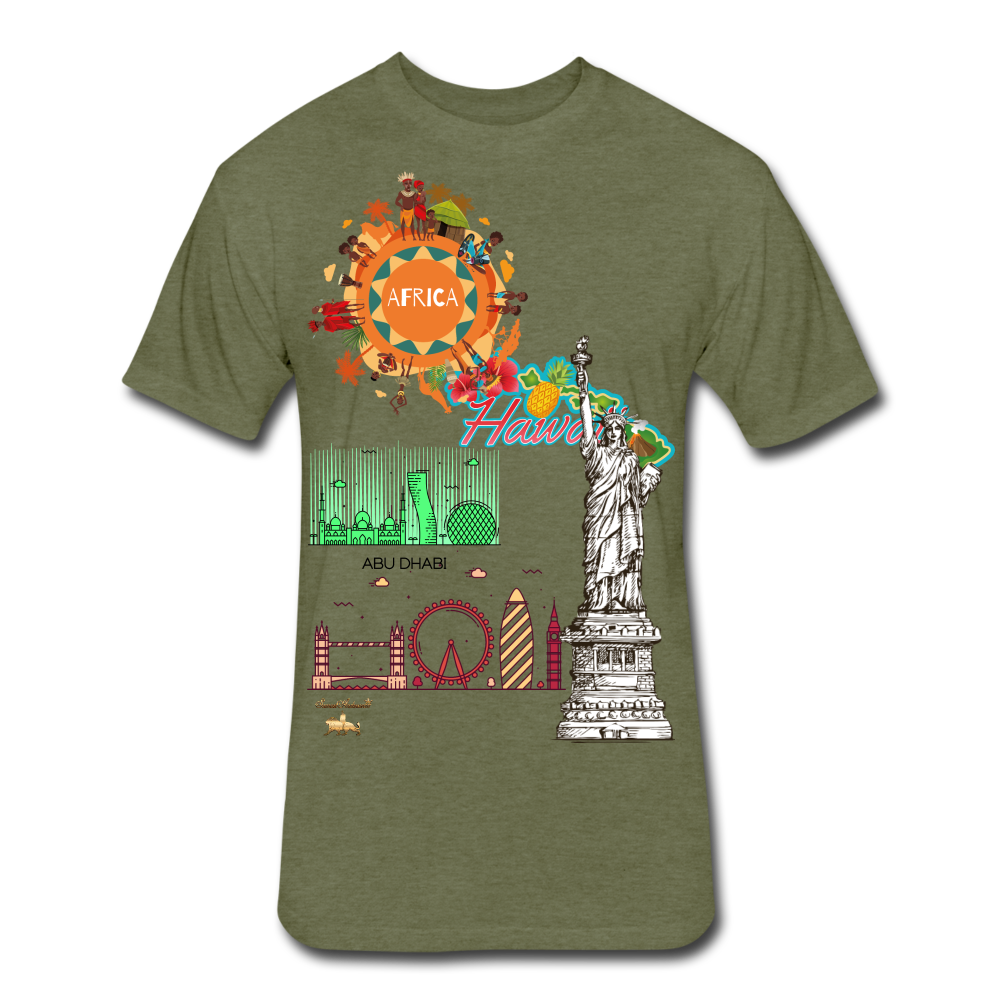 Classic Collections of Countries, Cities and Continent Fitted Cotton/Poly T-Shirt - heather military green