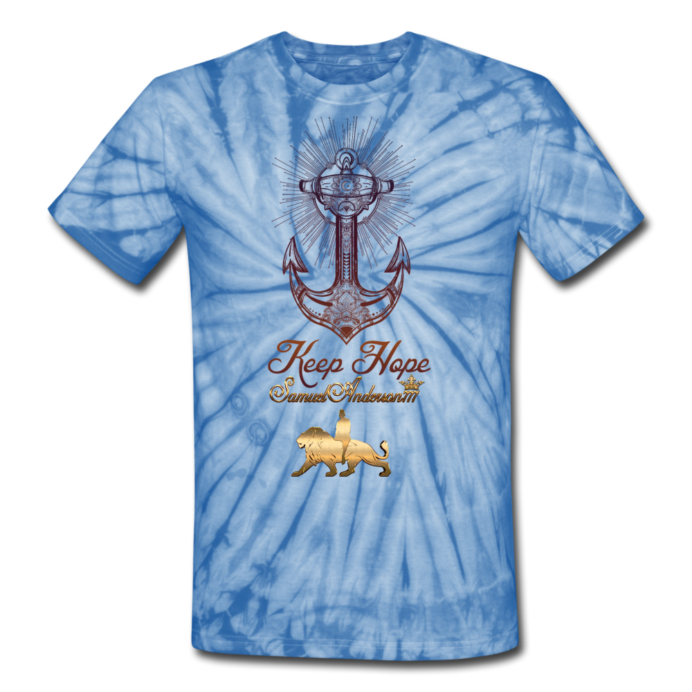 Keep Hope Unisex Tie Dye T-Shirt - spider baby blue