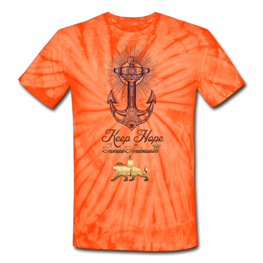 Keep Hope Unisex Tie Dye T-Shirt - spider orange