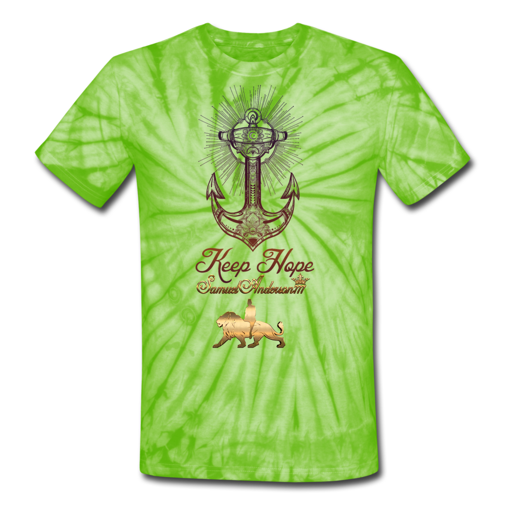 Keep Hope Unisex Tie Dye T-Shirt - spider lime green