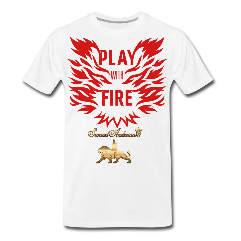 Play With Fire Men's Premium T-Shirt - white