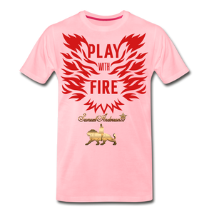 Play With Fire Men's Premium T-Shirt - pink