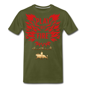 Play With Fire Men's Premium T-Shirt - olive green