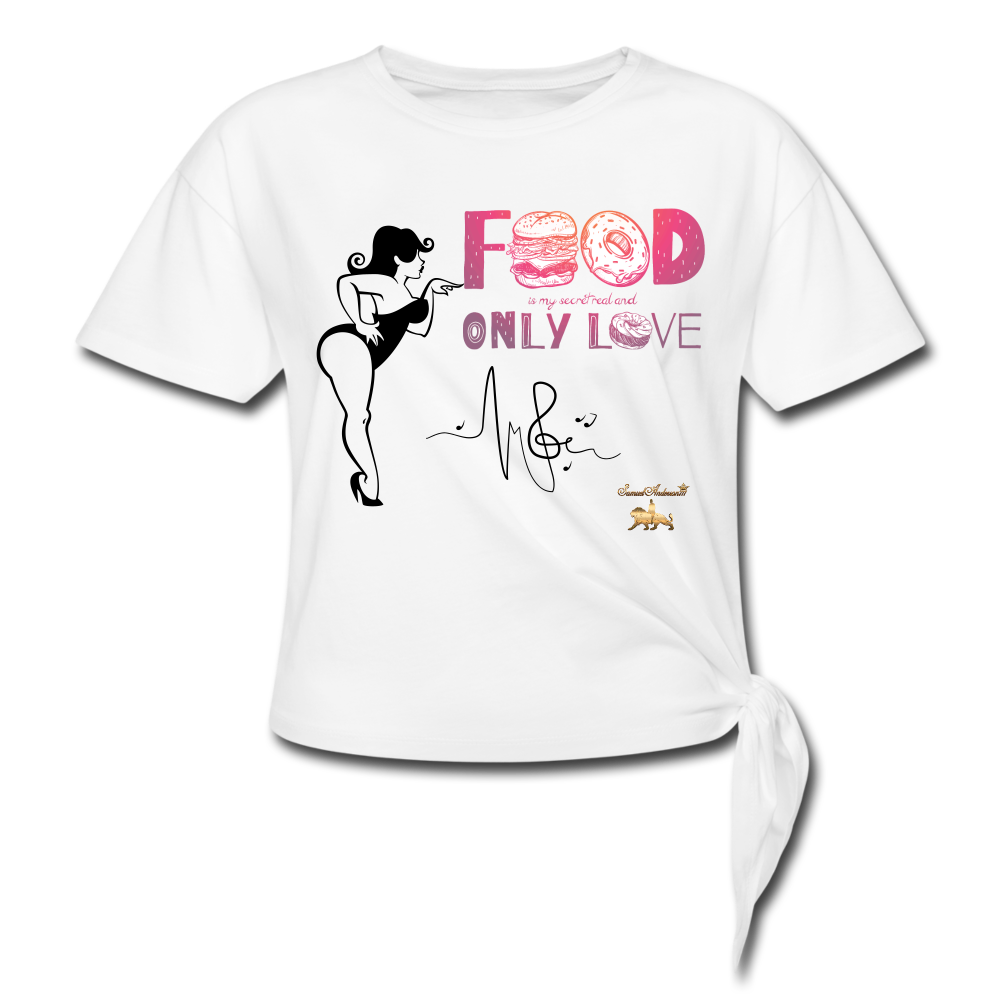 Food is Love Women's Knotted T-Shirt - white