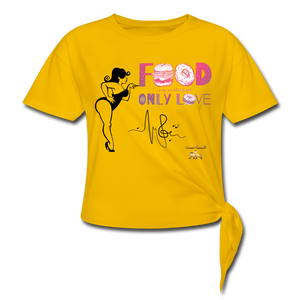 Food is Love Women's Knotted T-Shirt - sun yellow
