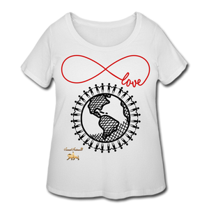 Unity and Love Women's Curvy T-Shirt (Plus Size) - white