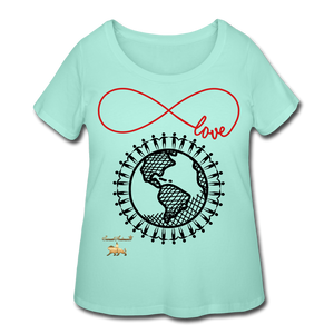 Unity and Love Women's Curvy T-Shirt (Plus Size) - mint