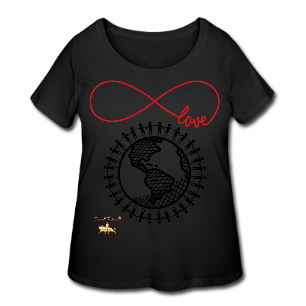 Unity and Love Women's Curvy T-Shirt (Plus Size) - black