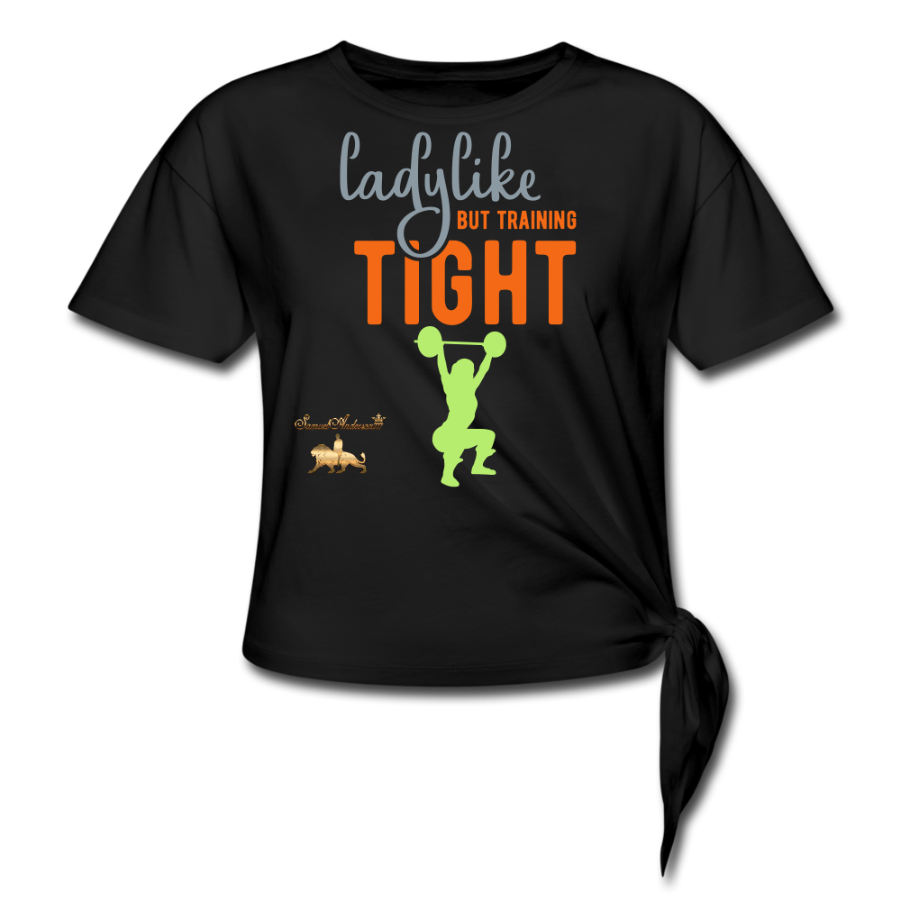 Ladylike but Training Tight Women's Knotted T-Shirt - black