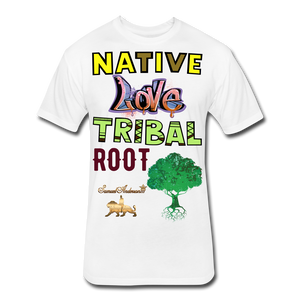 Native Love Tribal Root Fitted Cotton/Poly T-Shirt - white