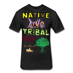 Native Love Tribal Root Fitted Cotton/Poly T-Shirt - black
