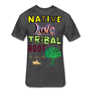 Native Love Tribal Root Fitted Cotton/Poly T-Shirt - heather black