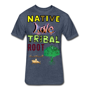 Native Love Tribal Root Fitted Cotton/Poly T-Shirt - heather navy