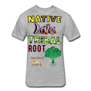 Native Love Tribal Root Fitted Cotton/Poly T-Shirt - heather gray
