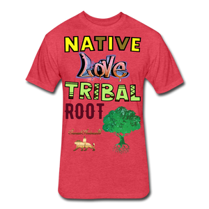 Native Love Tribal Root Fitted Cotton/Poly T-Shirt - heather red
