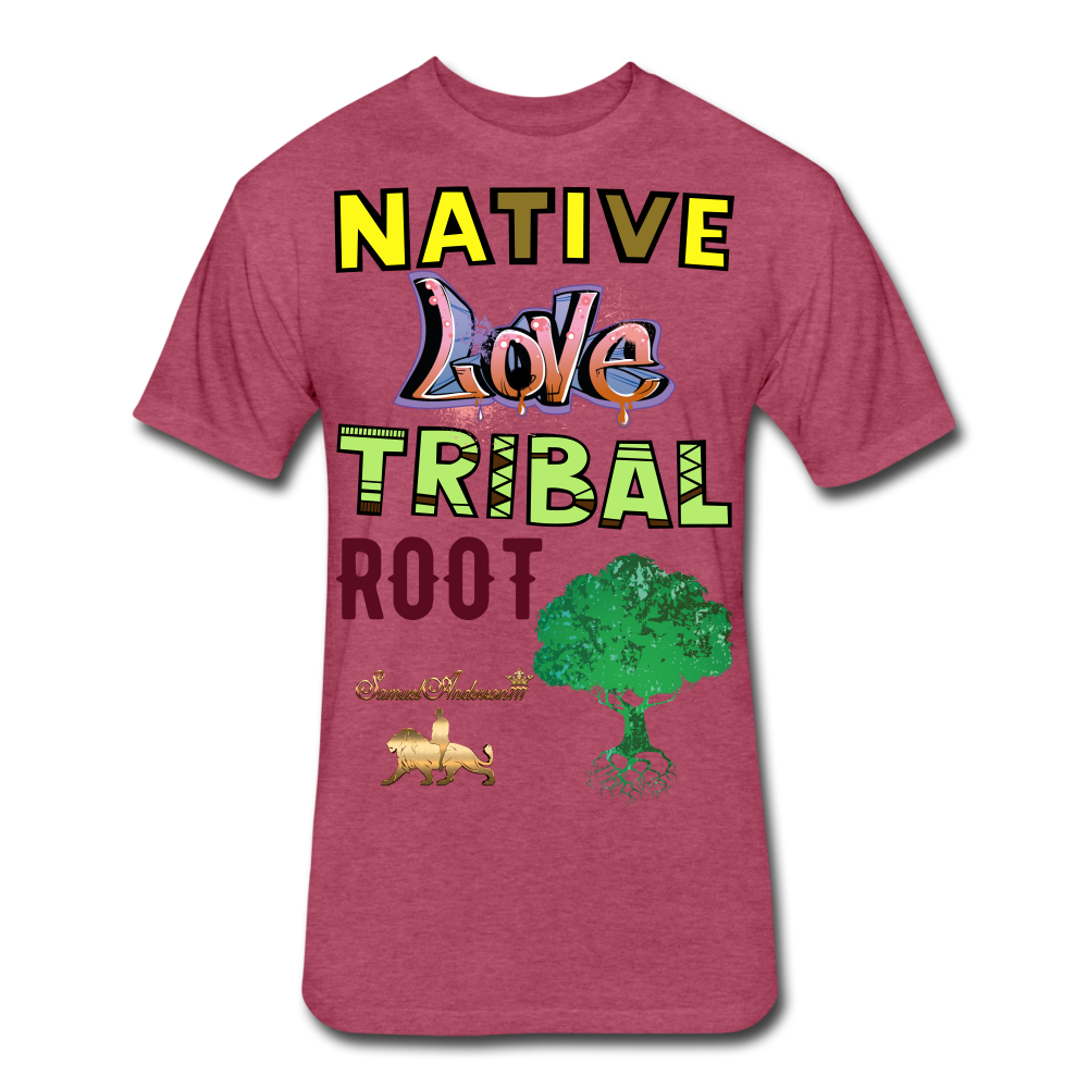 Native Love Tribal Root Fitted Cotton/Poly T-Shirt - heather burgundy