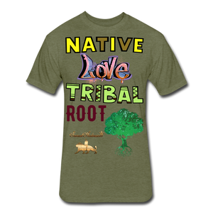 Native Love Tribal Root Fitted Cotton/Poly T-Shirt - heather military green